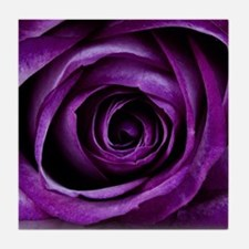 Purple Rose Flower Tile Coaster