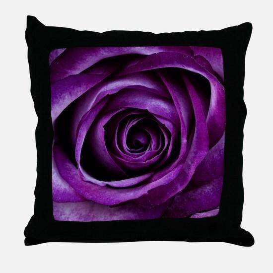 Purple Rose Flower Throw Pillow