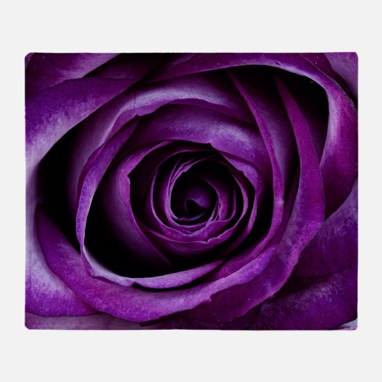 Purple Rose Flower Throw Blanket