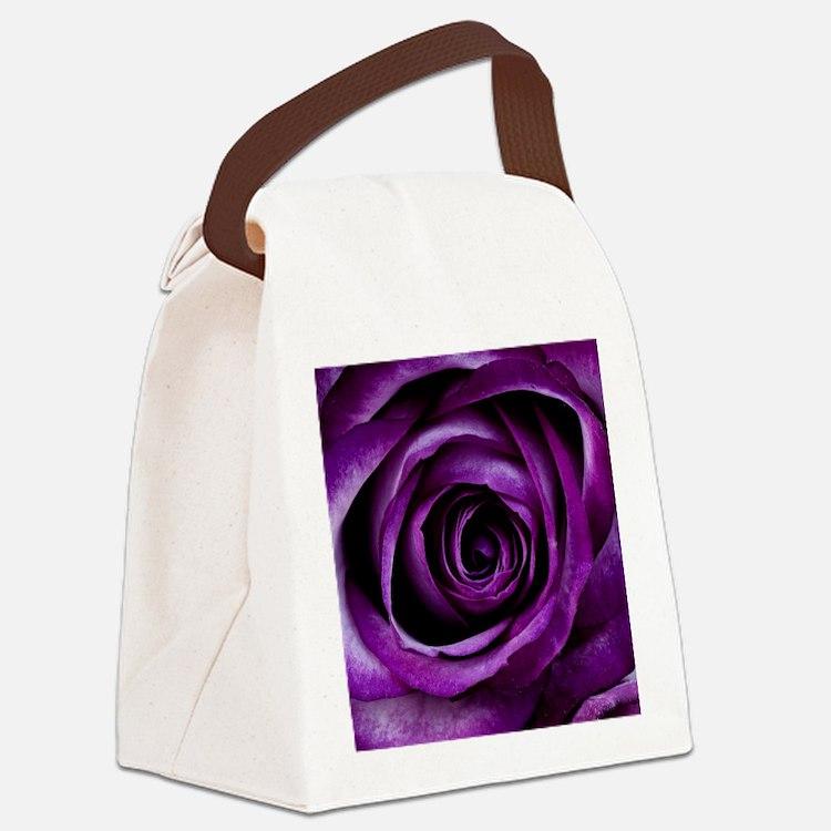 Purple Rose Flower Canvas Lunch Bag