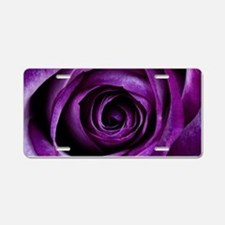 Purple Rose Flower Aluminum License Plate