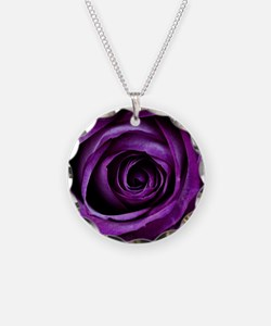 Purple Rose Flower Necklace