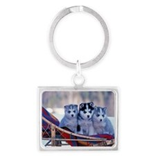 Husky Puppies Landscape Keychain