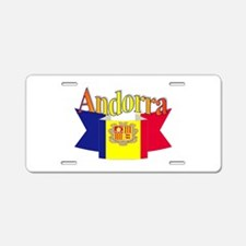 Andorra flag ribbon Aluminum License Plate