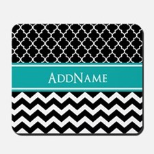 Black Teal Quatrefoil Chevron Monogram Mousepad