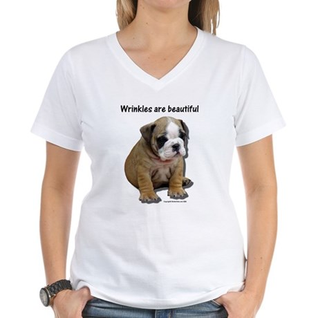 Wrinkles are Beautiful II Women's V-Neck T-Shirt