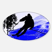 Downhill on the Ski Slope Edges Decal