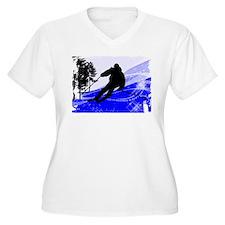 Downhill on the Ski Slope Edges Plus Size T-Shirt