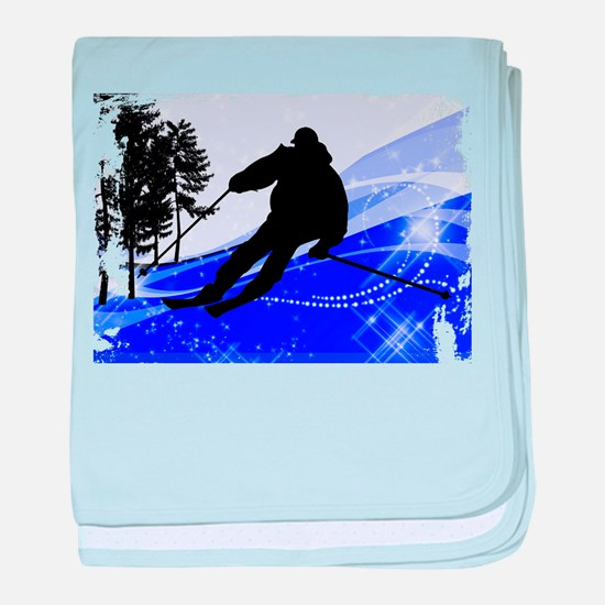 Downhill on the Ski Slope Edges.png baby blanket