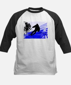 Downhill on the Ski Slope Edges Baseball Jersey