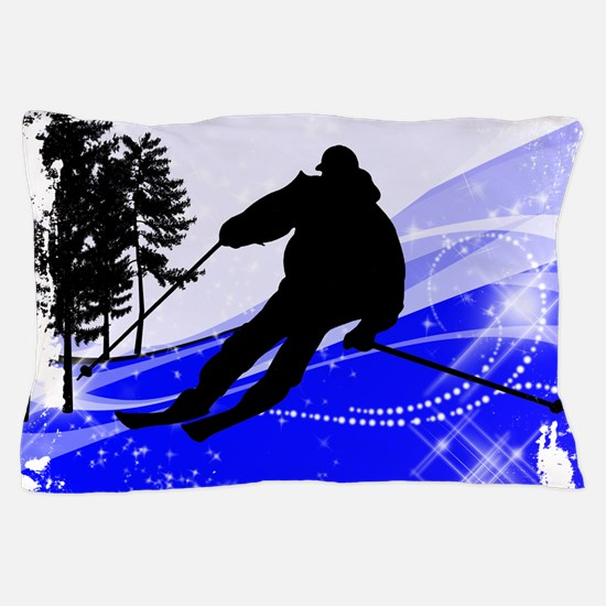 Downhill on the Ski Slope Edges.png Pillow Case