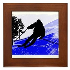 Downhill on the Ski Slope Edges.png Framed Tile