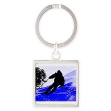 Downhill on the Ski Slope Edges Keychains