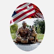 German Shepherd War Dog Memorial Ornament (Oval)