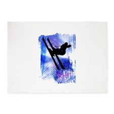 Blue and White Splashes with Ski Ju 5'x7'Area Rug