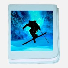 Winter Landscape and Freestyle Skier. baby blanket
