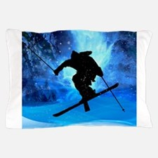 Winter Landscape and Freestyle Skier.p Pillow Case