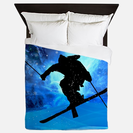 Winter Landscape and Freestyle Skier.p Queen Duvet