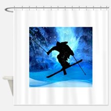 Winter Landscape and Freestyle Skie Shower Curtain