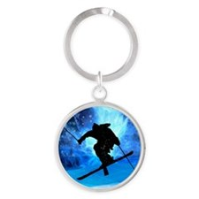 Winter Landscape and Freestyle Skier Keychains