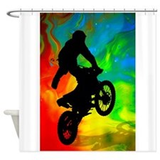 Motocross in a Solar Melt Down .png Shower Curtain