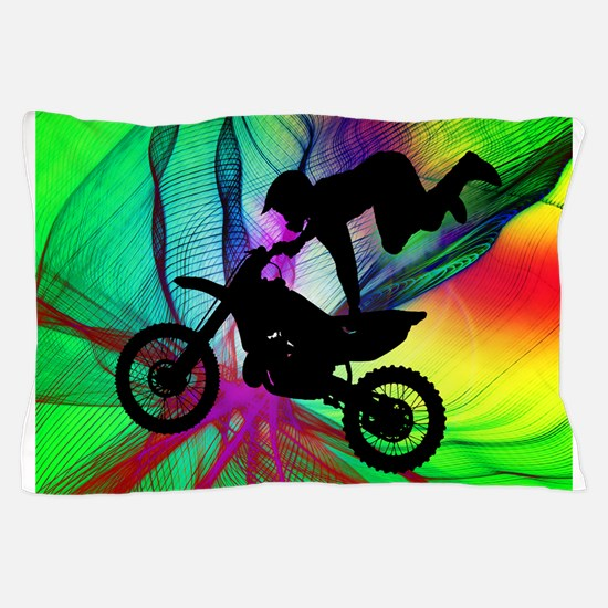 Motocross in a Psychedelic Spider Web. Pillow Case