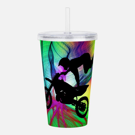 Motocross in a Psyched Acrylic Double-wall Tumbler