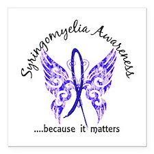 "Syringomyelia Butterfly Square Car Magnet 3"" x 3"""
