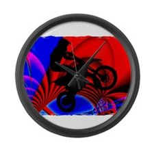 Motocrossing Going Loopy Edges.pn Large Wall Clock