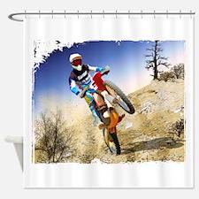 Desert Wheelie Motocross with Edges Shower Curtain