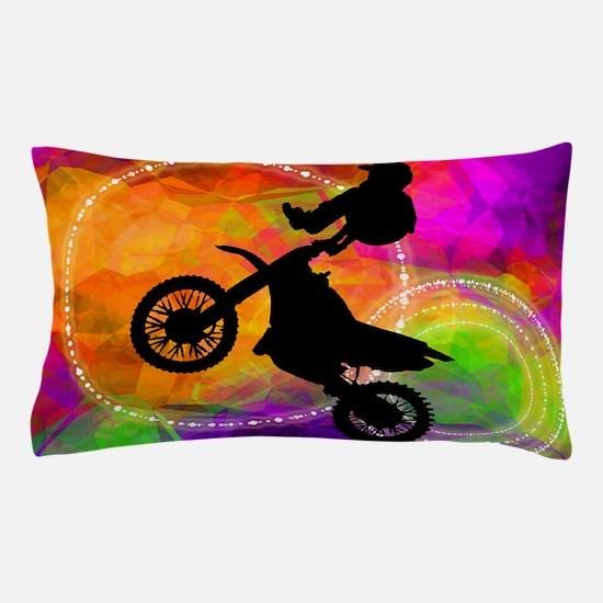 Motocross Jump in Fire Circles copy.pn Pillow Case