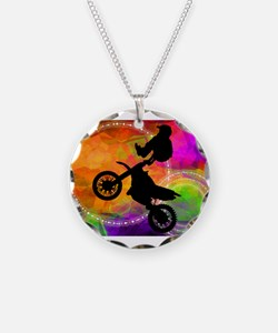Motocross Jump in Fire Circl Necklace