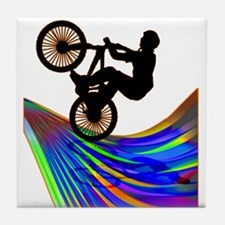 BMX on a Rainbow Road.png Tile Coaster