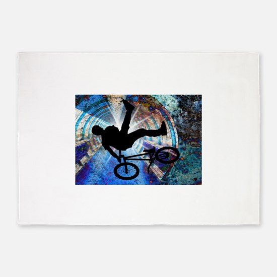 BMX in a Grunge Tunnel.png 5'x7'Area Rug