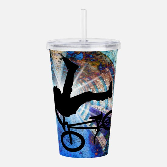 BMX in a Grunge Tunnel Acrylic Double-wall Tumbler