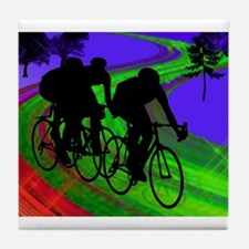 Cycling Trio on Ribbon Road.png Tile Coaster