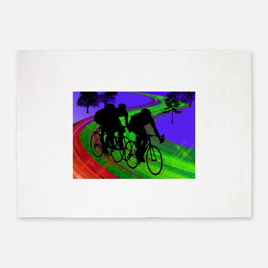 Cycling Trio on Ribbon Road.png 5'x7'Area Rug