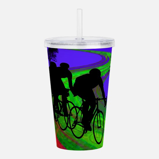 Cycling Trio on Ribbon Acrylic Double-wall Tumbler