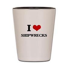 I Love Shipwrecks Shot Glass