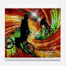 BMXers in Red and Orange Grunge Swirl Tile Coaster