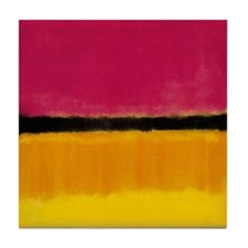 ROTHKO MAGENTA YELLOW BLACK 2 Tile Coaster