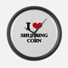 I Love Shucking Corn Large Wall Clock