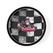 Kart on Checkered Flag Wall Clock