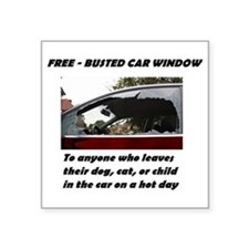 "Free Busted Car Window Square Sticker 3"" x 3"""