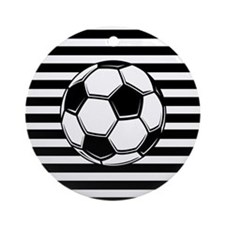 Soccer Ball on Stripes Ornament (Round)