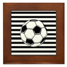Soccer Ball on Stripes Framed Tile