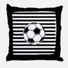 Soccer Ball on Stripes Throw Pillow