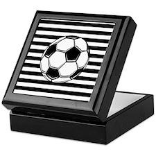 Soccer Ball on Stripes Keepsake Box