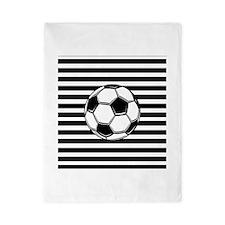 Soccer Ball on Stripes Twin Duvet