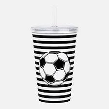 Soccer Ball on Stripes Acrylic Double-wall Tumbler